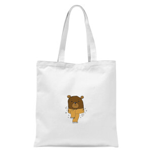 Christmas Bear Pocket Tote Bag - White