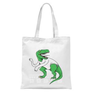 T-Rex Sleeves Tote Bag - White