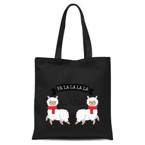 Fa La La La La La Llama Tote Bag - Black