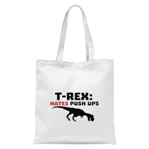 T-Rex Hates Pushups Tote Bag - White