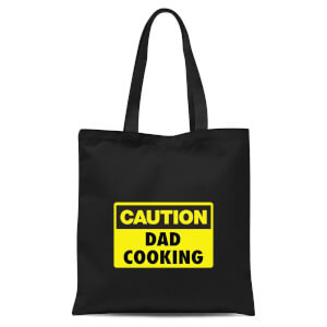 Caution Dad Cooking Tote Bag - Black