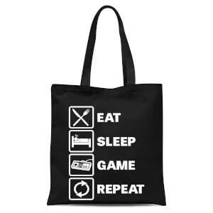 Eat Sleep Game Repeat Tote Bag - Black