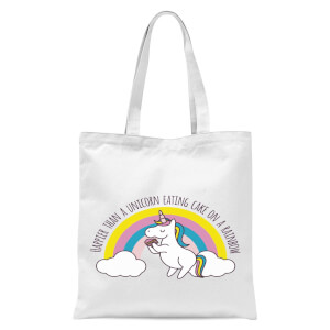 Happier Than A Unicorn Eating Cake Tote Bag - White