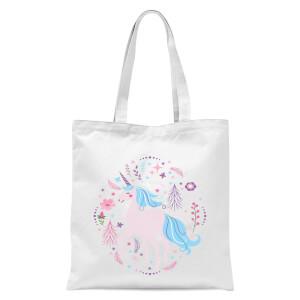 Pink Unicorn Tote Bag - White
