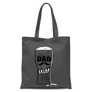 Awesome Dad Beer Glass Tote Bag - Grey