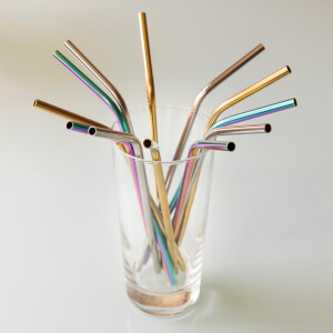 Metalic Multicoloured Stainless Steel Straws