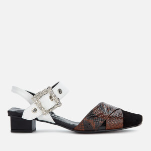 Yuul Yie Women's Bliss Block Heeled Sandals - Black/Brown Python/White