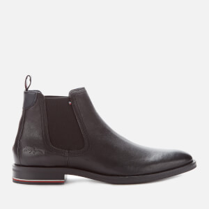 Tommy Hilfiger Men's Signature Hilfiger Leather Chelsea Boots - Black