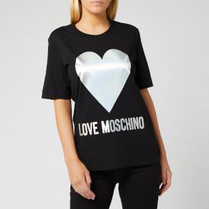 Love Moschino Women's Silver Heart T-Shirt - Black