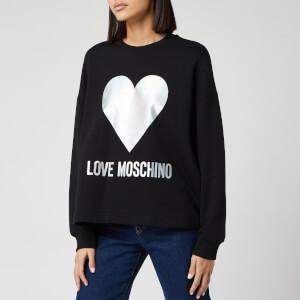 Love Moschino Women's Silver Heart Sweatshirt - Black