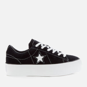 Converse Women's One Star Platform Ox Trainers - Black/Black/White