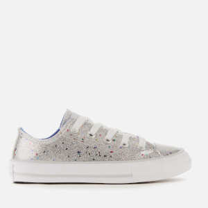 Converse Kids' Chuck Taylor All Star Galaxy Glimmer Ox Trainers - Silver/Ozone Blue/White