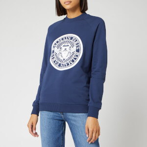 Balmain Women's Flocked Coin Sweatshirt - Blue