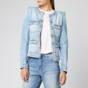 Balmain Women's Washed Collarless Denim Jacket - Blue