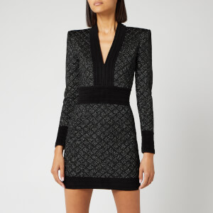 Balmain Women's V Neck Diamond Dress - Black