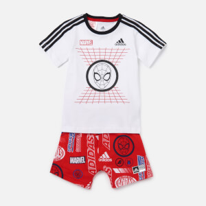 adidas Boys' Infant Dy Spider-Man T-Shirt and Short Set - White/Red