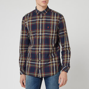 Joules Men's Hewitt Check Shirt - Navy Orange Check
