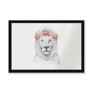 Lion And Flowers Entrance Mat