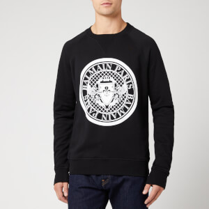 Balmain Men's Sweatshirt with Coin Logo - Noir/Blanc