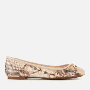 Dune Women's Harpar Leather Ballet Flats - Natural Reptile