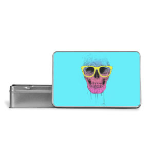 Skull And Glasses Metal Storage Tin