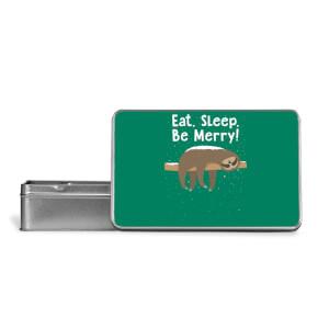 Eat, Sleep, Be Merry Metal Storage Tin