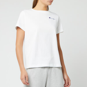 Champion Women's Small Script Crew Neck Short Sleeve T-Shirt - White