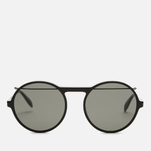 Alexander McQueen Men's Metal Round Frame Sunglasses - Black