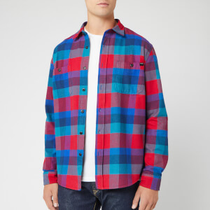 Edwin Men's Flanel Labour Shirt - Red/Dress Blue/Mazarine