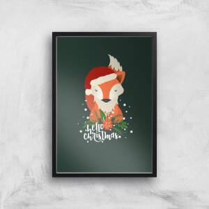 Christmas Fox Hello Christmas Art Print