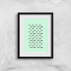 Fish In Geometric Pattern Art Print