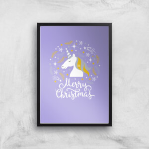 Unicorn Christmas Head Art Print