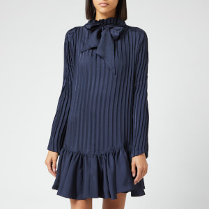 JW Anderson Women's Garment Pleat Satin Twill Mini Dress - Navy