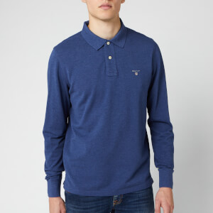 GANT Men's Original Pique Long Sleeve Polo Shirt - Marine Melange