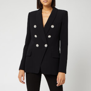 Balmain Women's Oversized 6 Button Crepe Jacket - Black