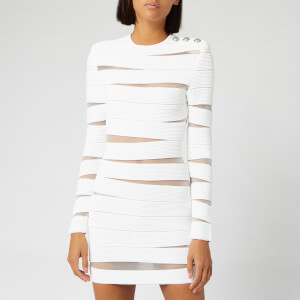 Balmain Women's Short Open Knit Dress - White
