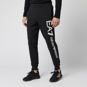 Emporio Armani EA7 Men's Large Script Logo Sweatpants - Black/Gold