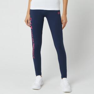 Emporio Armani EA7 Women's Train Logo Leggings - Navy Blue/Bright Rose