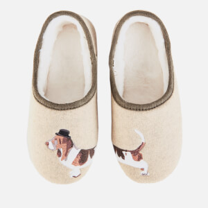 Joules Women's Felt Mule Slippers - Cream Dog