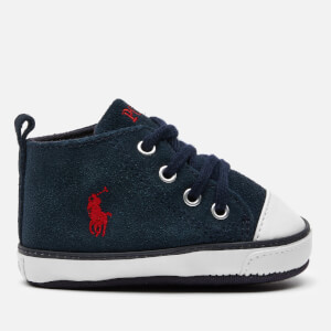 Polo Ralph Lauren Babies' Hamptyn Hi Top Suede Trainers - Navy/Red