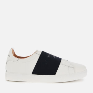 Armani Exchange Men's Leather Slip-On Low Top Trainers - Optical White/Navy