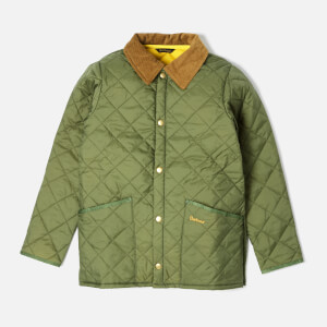 Barbour Boy's Liddesdale Quilted Jacket - Moss/Yellow