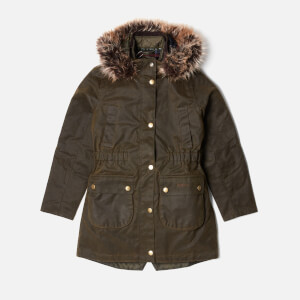 Barbour Girl's Thrunton Wax Jacket - Olive/Classic