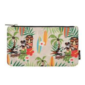 Disney Loungefly Mickey Mouse y Minnie Mouse Vintage Estuche Estampado Estilo Hawaiiano