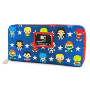 Loungefly DC Comics Justice League Chibi AOP Zip Around Wallet