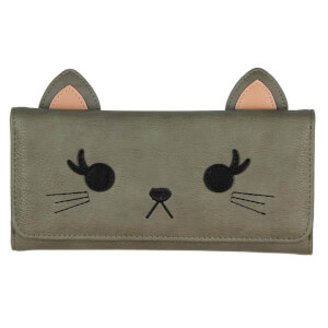Loungefly Grey Cat Face Trifold Wallet