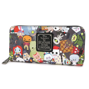 Loungefly Disney The Nightmare Before Christmas Chibi Character AOP Zip Around Wallet