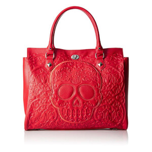 Loungefly Red on Red Lattice Skull Tote Bag