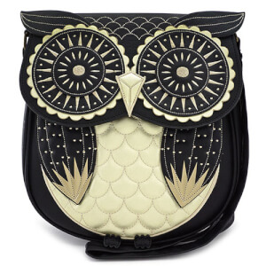 Loungefly Black and Gold Owl Mini Backpack