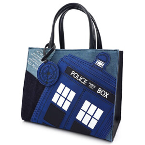 Loungefly Dr Who Tardis Denim Tote Bag